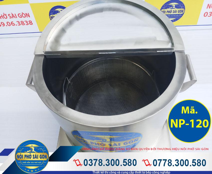 Nắp nồi bán nguyệt của Nồi phở inox 120 Lít NPSG