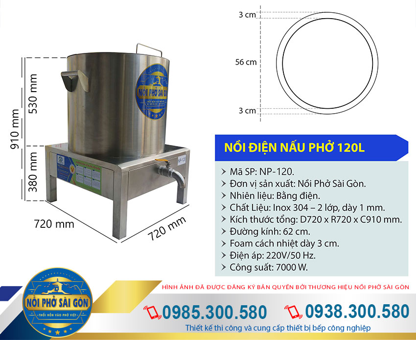 thông số kỹ thuật nồi nấu phở bằng điện 120L - Nồi Phở Sài Gòn