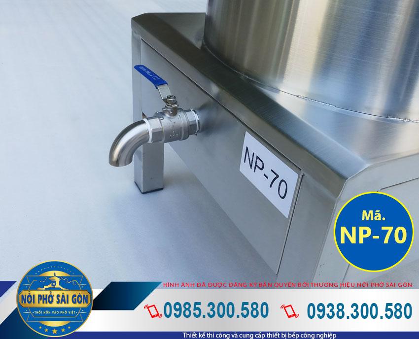 Chi tiết thân nồi nấu phở 70L bằng inox 304 NPSG