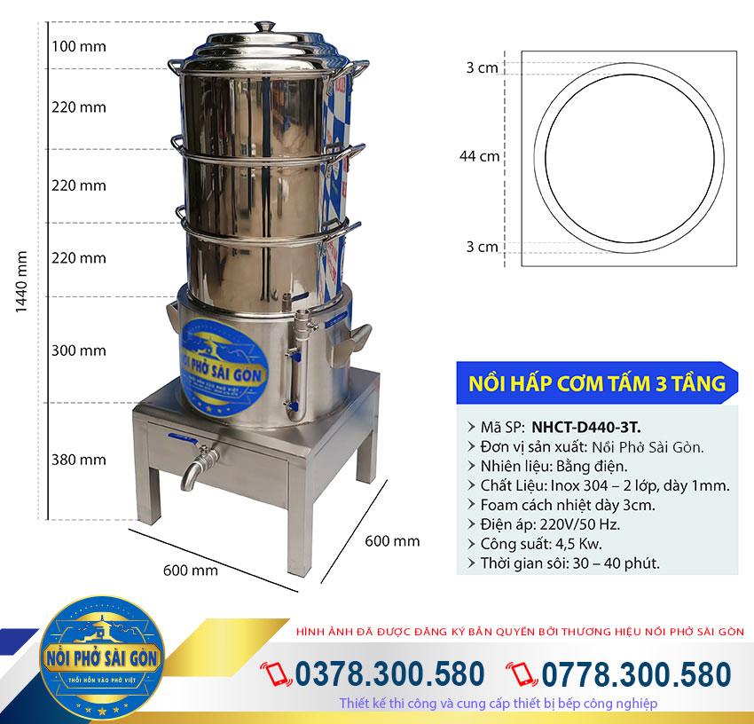 kích thước nồi điện hấp cơm tấm công nghiệp 3 tầng hấp inox 304