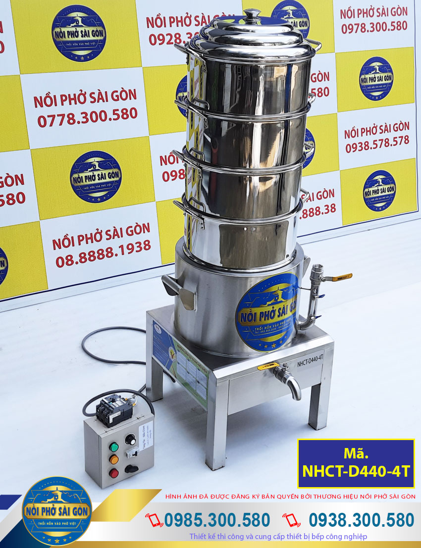 nồi hấp cơm tấm công nghiệp 4 tầng xửng hấp 440mm