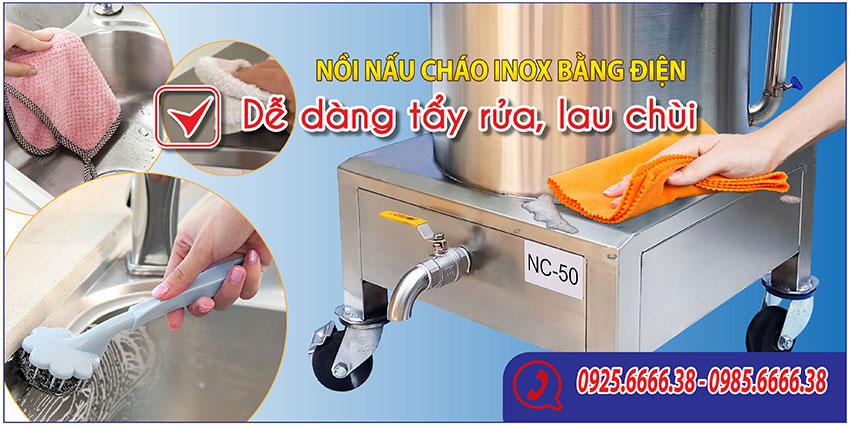 Nồi nấu cháo bằng điện - dễ dàng vệ sinh với nước
