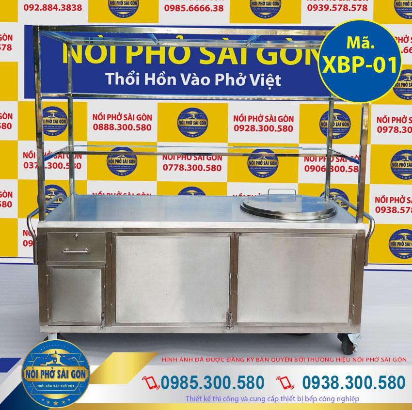 xe bán hủ tiếu inox - tủ bán hủ tiếu inox có nồi nấu nước lèo bằng điện