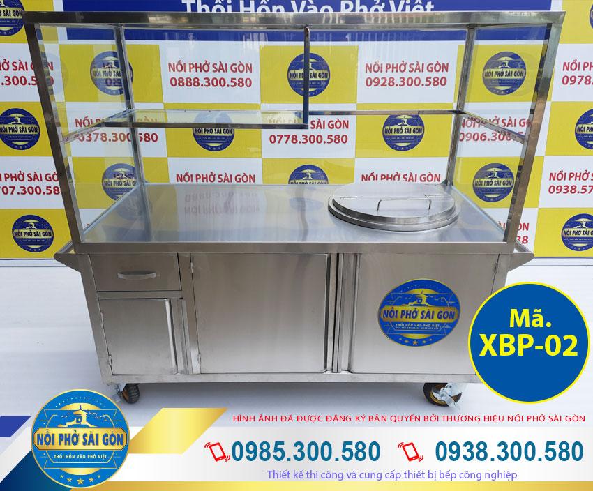 xe tủ bán hủ tiếu phở có nồi nấu nước lèo bằng điện 60L